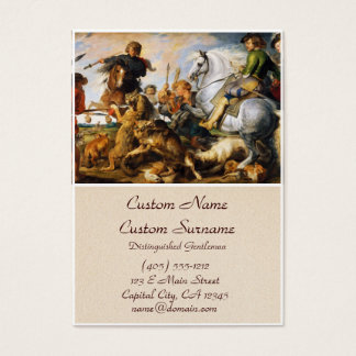Wolf and Fox hunt Peter Paul Rubens masterpiece Business Card