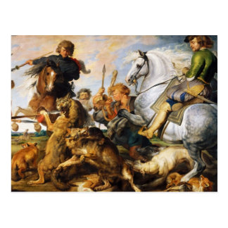 Wolf and Fox hunt Peter Paul Rubens masterpiece Postcard