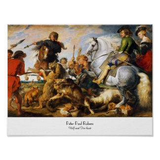Wolf and Fox hunt Peter Paul Rubens masterpiece Poster