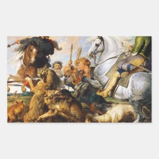 Wolf and Fox hunt Peter Paul Rubens masterpiece Rectangular Sticker