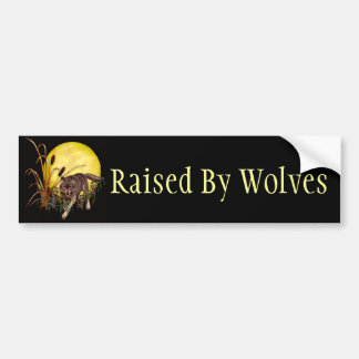 Wolf and Full Moon Bumper Sticker