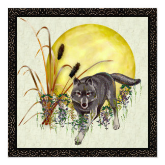 Wolf and Full Moon Card