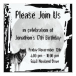 Wolf and Full Moon Gothic Birthday Invitation