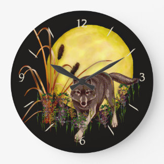 Wolf and Full Moon Large Clock
