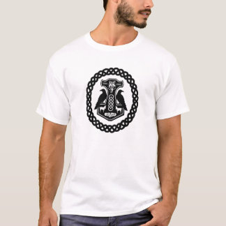 Wolf and Goats Thor's Hammer with Ravens in Celtic T-Shirt