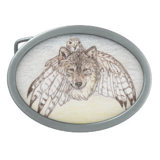 Wolf and Hawk Transformation Oval Belt Buckle