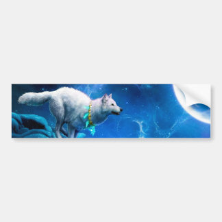 Wolf and Moon Bumper Sticker