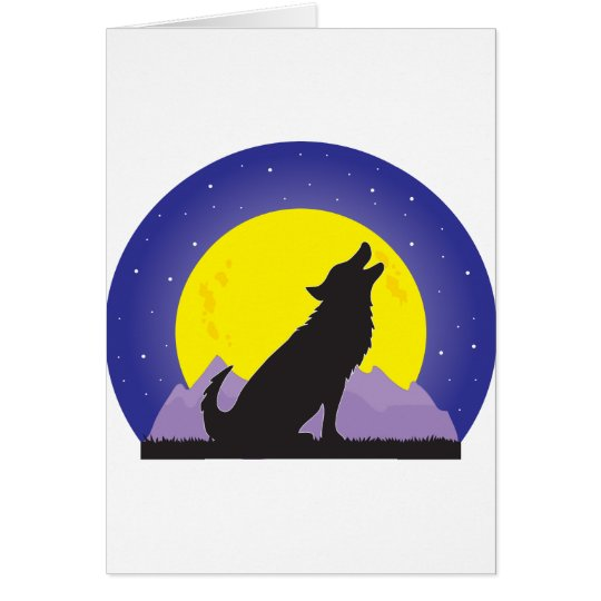 Wolf and Moon Card