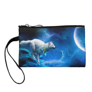Wolf and Moon Change Purse