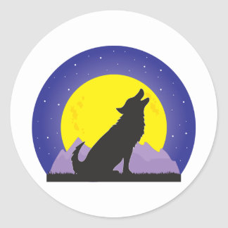 Wolf and Moon Classic Round Sticker