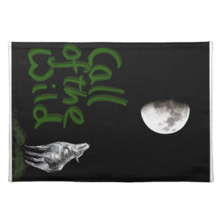 Wolf and Moon fantasy art products Place Mat