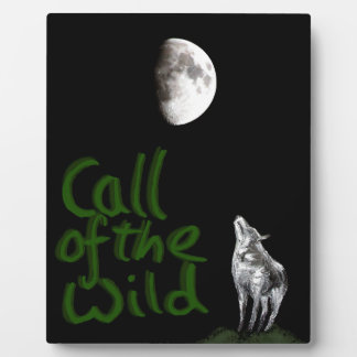 Wolf and Moon , fantasy art products Plaque