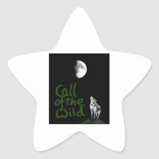 Wolf and Moon , fantasy art products Star Sticker