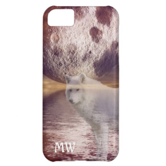 wolf and moon fantasy landscape intial iphone case
