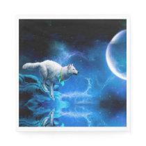Wolf and Moon Napkin