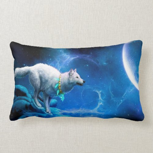Wolf and Moon Pillow
