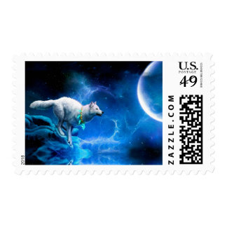Wolf and Moon Postage