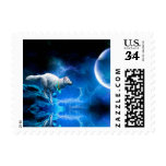 Wolf and Moon Postage Stamps