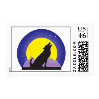 Wolf and Moon Stamp