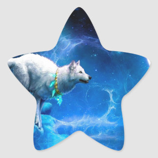 Wolf and Moon Star Sticker
