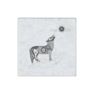 Wolf and Moon Stone Magnet