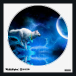 """Wolf and Moon Wall Decal<br><div class=""""desc"""">Painting, wolf, wolfs, wolves, Blue, &quot;wolf paintings&quot;, &quot;wolf painting&quot;, &quot;wolf moon painting&quot;, &quot;wolf moon&quot;, &quot;full wolf moon &quot;, &quot;wolf and moon&quot;, &quot;wolf full moon&quot;, &quot;wolfs moon&quot;, &quot;moon wolf&quot;, &quot;grey wolf&quot;, werewolf, moon, space, &quot;full moon&quot;, night, spell, blue, cliff, &quot;dark moon&quot;, darkness, fog, gorge, hill, howl, illustration, indigenous, light, magic, majestic,...</div>"""