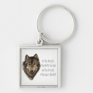 Wolf and Pack Quote - Animal Collection Silver-Colored Square Keychain