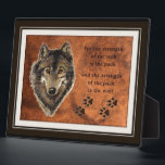 """Wolf and Pack Quote Plaque<br><div class=""""desc"""">Wolf or Wolves Animal quote about the pack or family</div>"""