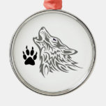 WOLF AND PAW PRINT METAL ORNAMENT