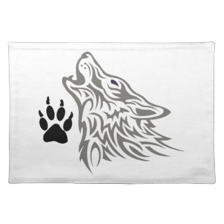 WOLF AND PAW PRINT CLOTH PLACEMAT