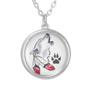 WOLF AND PAW PRINT ROUND PENDANT NECKLACE