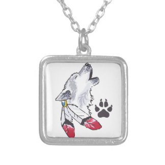 WOLF AND PAW PRINT SQUARE PENDANT NECKLACE