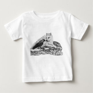 Wolf and Raven black and white design Baby T-Shirt
