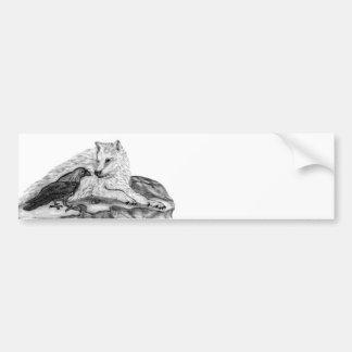 Wolf and Raven black and white design Bumper Sticker