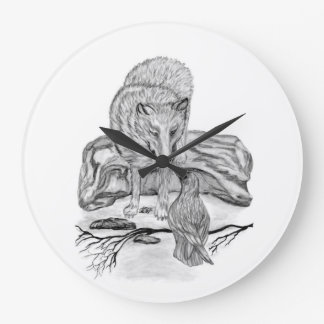 Wolf and Raven black and white design Wall Clock