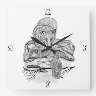 Wolf and Raven black and white design Clock