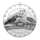 Wolf and Raven black and white design Dartboard With Darts