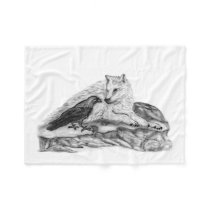 Wolf and Raven - black and white Design Fleece Blanket