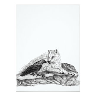 Wolf and Raven black and white design 5.5x7.5 Paper Invitation Card