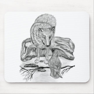 Wolf and Raven black and white design Mouse Pad