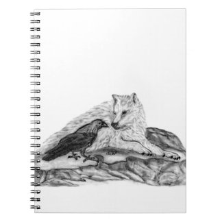 Wolf and Raven black and white design Notebook