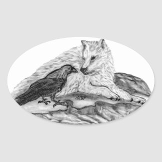 Wolf and Raven black and white design Oval Sticker