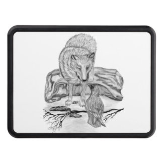 Wolf and Raven black and white design Hitch Covers