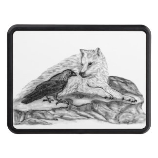 Wolf and Raven black and white design Hitch Cover