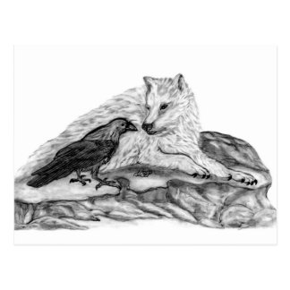 Wolf and Raven black and white design Postcard