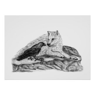 Wolf and Raven black and white design Poster