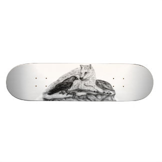 Wolf and Raven black and white design Skateboard