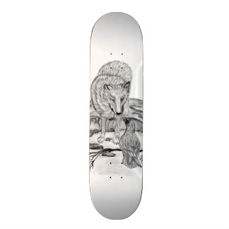 Wolf and Raven black and white design Skateboard Deck