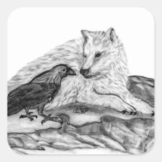 Wolf and Raven black and white design Square Sticker