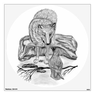 Wolf and Raven black and white design Wall Sticker